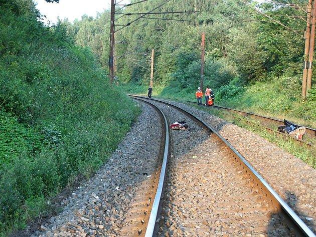 Důsledek střetu vlaku s člověkem