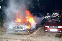 Požár automobilu v Havířově