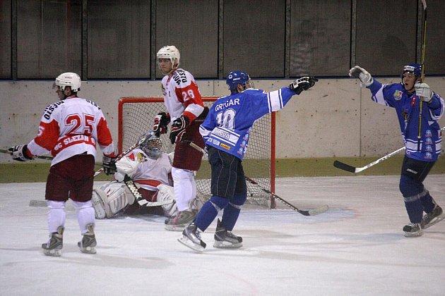 Radost orlovských hokejistů je častým obrázkem letošní sezony.