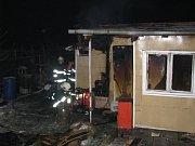 Požár chatky v Havířově