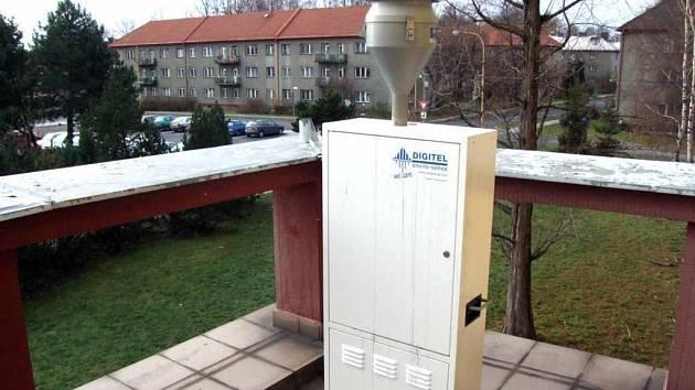 Tento měřící přístroj je umístěn na balkonu ZŠ v Prostřední Suché.