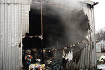 Požár plastů v Bohumíně