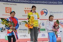 Nejlepší tři závodnice letošní Gracie - první ve žlutém trikotu Antošina, druhá Bojarskaja, třetí Bubněkova. Všechny jsou z Ruska.