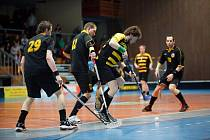 Havířovští florbalisté (pruhované dresy) torpedovali doma Litvínov a vedou 2:0 na zápasy.
