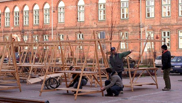 Příprava vánočních trhů v Bohumíně