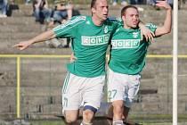 Karvinští fotbalisté (zelené dresy) se rozešli s Jihlavou smírně 1:1.