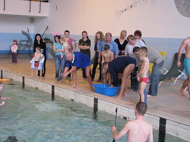Mikulášská nadílka spojená s výlovem kaprů z bazénu