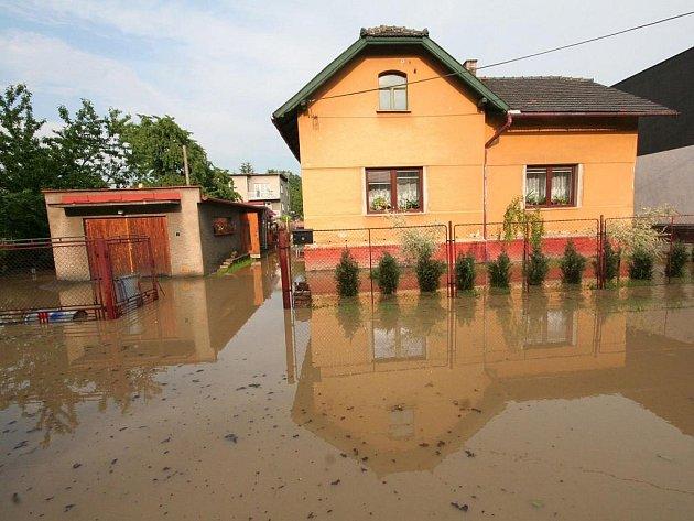 Zaplavená bohumínská část Skřečoň