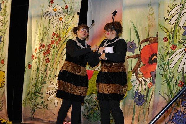 Amatérské představení karvinského souboru Bambules Čmelda a Brumda  se dětem líbilo.