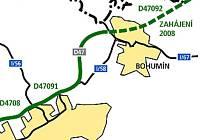 Mapa znázorňuje další etapu stavby dálnice.