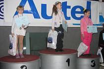 Na snímku jsou tři nejlepší z kategorie nováčci dívky. První skončila Karin Kenická, druhá Michaela Rucká (obě TJ Slavoj Český Těšín) a třetí Jitka Čurilová z KK Havířov.