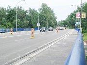 Stavba kruhového objezdu na křižovatce ulic Polská, Ciolkovského a Božkova