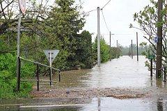 Záplavové ohrožení v Bohumíně. Snímek z května 2010