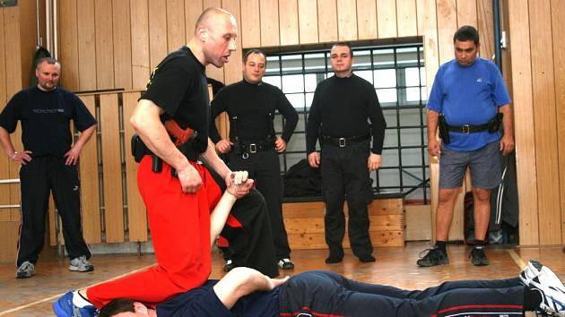 Českotěšínští strážníci se pod vedením orlovského kolegy učili chvaty, kterými mohou zneškodnit útočníka.