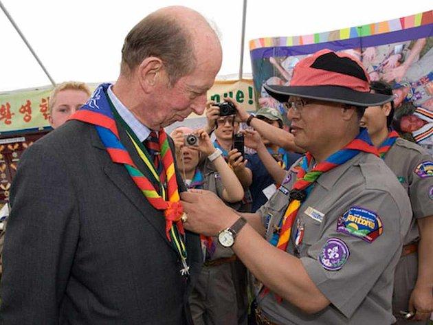 Vévoda z Kentu, který je zároveň prezidentem britské Skautské asociace, na Jamboree nemohl chybět.