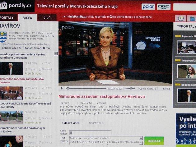 Záběr vysílání havířovské městské televize