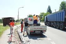 Oprava silnice v Orlové