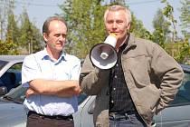 Odboroví předáci Miroslav Syrový a Dušan Otaševič na jednom z mítinků se zaměstnaci OKD, Rekultivace