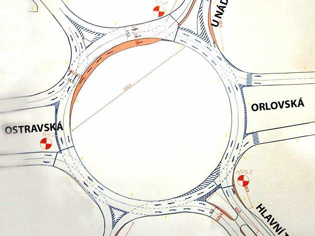 Plán úpravy okružní křižovatky.