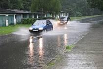 Zaplavená ulice U Stromovky v Havířově