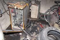 Následky výbuchu plynového kotle a následného požáru v Hradišti
