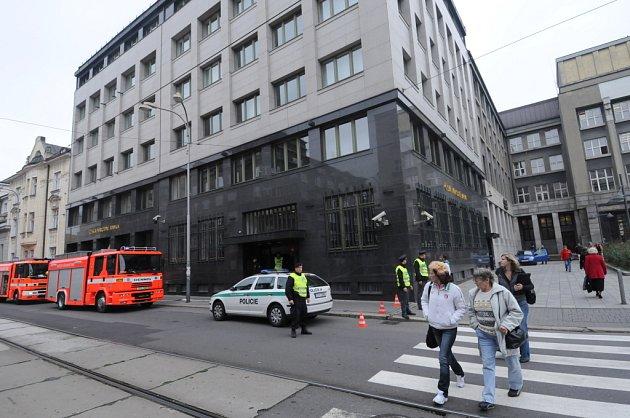 Cvičení ostravských hasičů v České národní bance