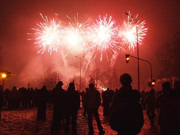 Silvestrovský ohňostroj v Havířově