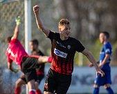 Vlašim - Zápas 23. kola Fortuna národní ligy mezi FC Vlašim a SFC Opava 22. dubna 2018 ve Vlašimi. David Puškáč - o.