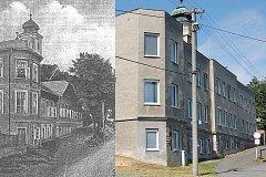Vlevo: Klášter na dobové rytině na počátku 20. století. Vpravo: Bývalý klášter dnes.