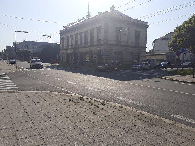 Křižovatka ulic Husovy a Olomoucké, Opava, 18.června 2021.