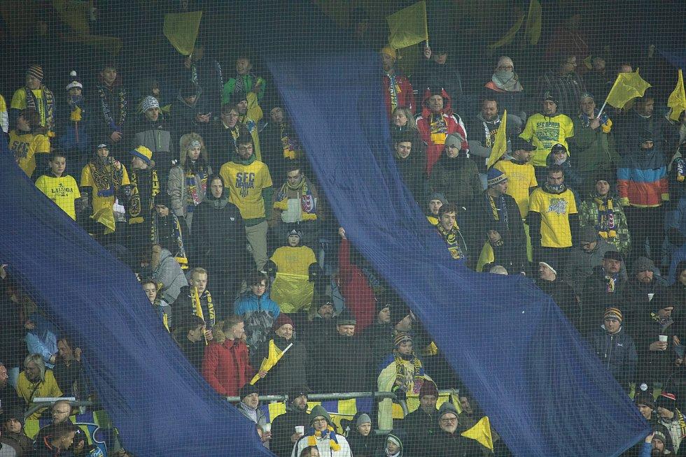 Opava - Zápas osmifinále MOL Cupu mezi SFC Opava a AC Sparta Praha 28. listopadu 2018 na Městském stadionu v Opavě. Fanoušci SFC Opava.