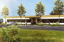 Vizualizace budovy centrálního příjmu vznikne na travnaté ploše v areálu Psychiatrické nemocnice v Opavě.