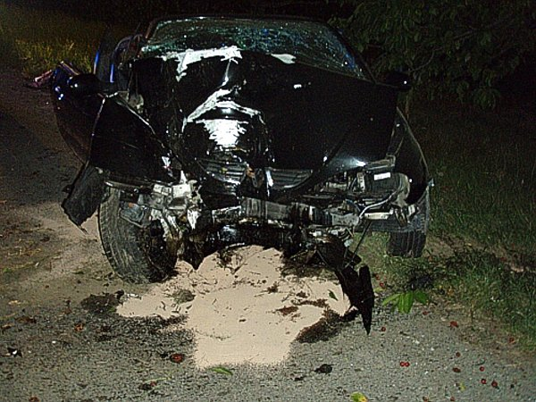 Snímek ze zásahu udopravní nehody osobního automobilu vPíšti.