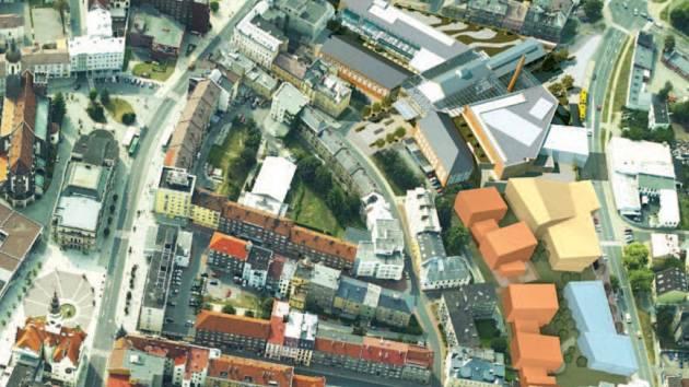 Vizualizace. Světle modře zvýrazněná část vizualizace projektu představuje komerční zástavbu, oranžová rezidenční výstavbu a okrová znázorňuje zamýšlené multifunkční zařízení.