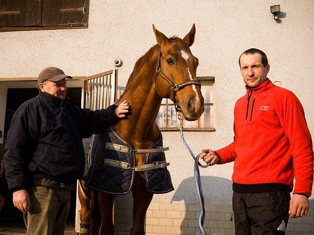 Zleva: Vladimír Hruška (trenér), kůň Aristo Z, parkúrový jezdec Jiří Hruška.