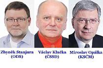 Opavští poslanci. Zbyněk Stanjura (ODS), Václav Klučka (ČSSD) a Miroslav Opálka (KSČM).