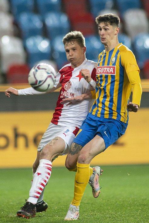 Zápas fotbalové FORTUNA:LIGY mezi SK Slavia Praha a SFC Opava 21. března 2021.