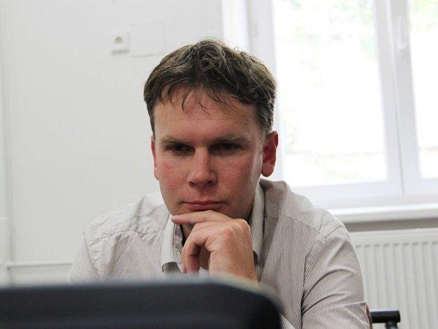 Radim Křupala v redakci Opavského a Hlučínského Deníku.