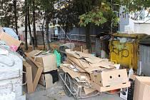 I tak to vypadá v Liptovské ulici v Kylešovicích. U popelnic se hromadí odpadky, z nichž tito muži vytahují papír a odnášejí ho do sběru.