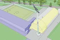 Vizualizace. Vlevo dole: fotbalový stadion Slezského FC Opava, tribuna G. Vlevo nahoře: venkovní minihřiště (44 x 31 metrů). Vpravo: nová hala (36 x 20 metrů, žlutě označená).