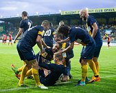 Zápas 5. kola Fortuna národní ligy SFC Opava - FC MAS Táborsko 22. srpna 2017 v Opavě.hráči SFC Opava, gól, radost