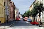 Únik plynu v Opavě, 22. srpen 2019. Uzavřené silnice hlídají policisté.