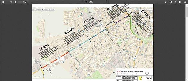Mapa sjednotlivými etapami uzavírky vOlomoucké ulici.