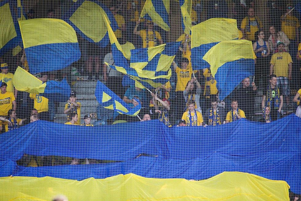 Opava - Zápas 22. kola Fortuna národní ligy mezi SFC Opava a FK Fotbal Třinec hrané v Opavě 15. dubna 2018. Fanoušci SFC Opava.