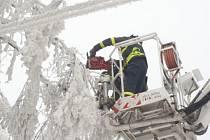 Po poledni zasahovaly dvě jednotky hasičů v Podvihově, kde strom obtěžkaný sněhem a ledem skončil na drátech nízkého napětí.