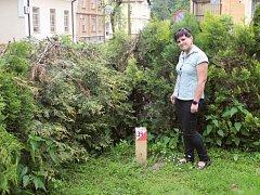 Jana Kostková u jednoho z pevných bodů v areálu Psychiatrické nemocnice v Opavě.