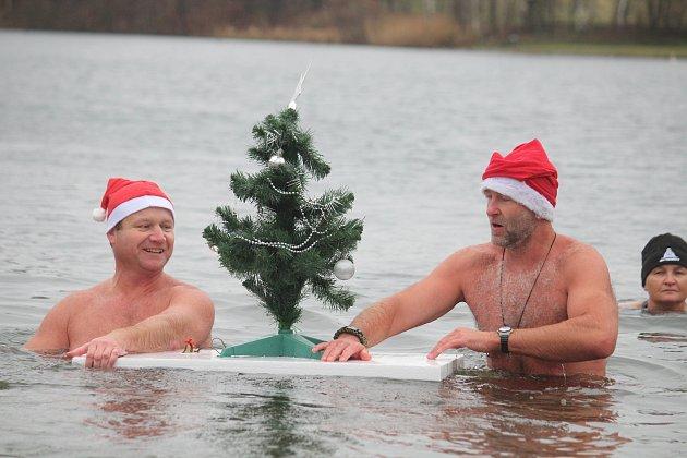 Na Štědrý den před polednem se na Stříbrném jezeře vOpavě uskutečnil už devátý ročník otužilecké akce snázvem Opavský rampouch.