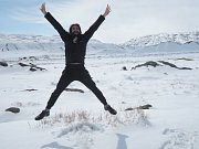 Pavel Klega na cestě z Tabrízu do Teheránu v zasněžených horách Íránu.
