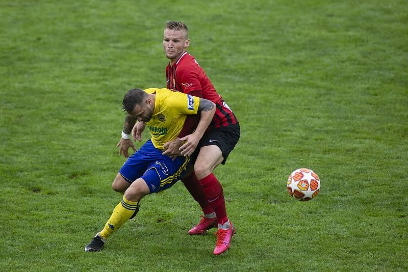 Zlín - Zápas skupiny o záchranu FORTUNA:LIGY mezi FC Fastav Zlín a SFC Opava. Matěj Hrabina (SFC Opava).