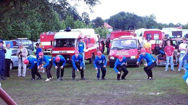 Soutěžní družstvo hasičů z Oldřišova.